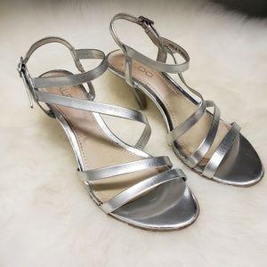 Aldo Stella Silver Strappy High Heel Sandals